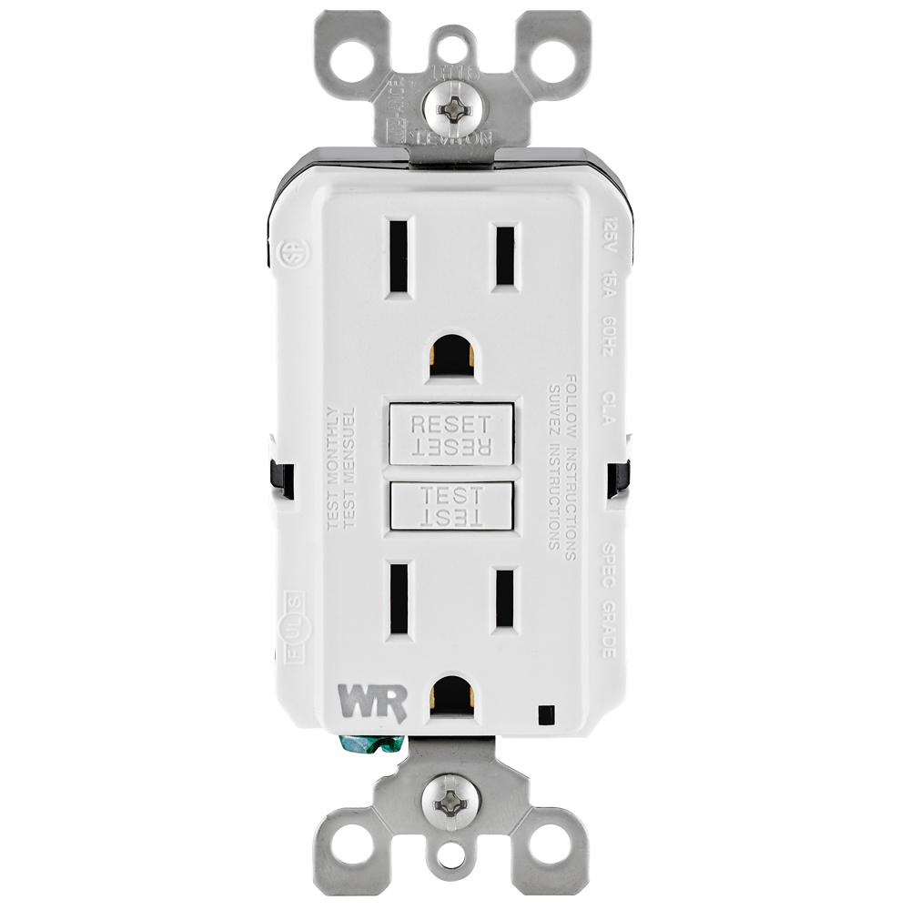 White Faceless Electrical Outlets Receptacles Wiring Devices Smartlockpro Outlet Branch Circuit Arcfault Interrupter 15 Amp 125 Volt Duplex Self Test Tamper Resistant Weather Gfci