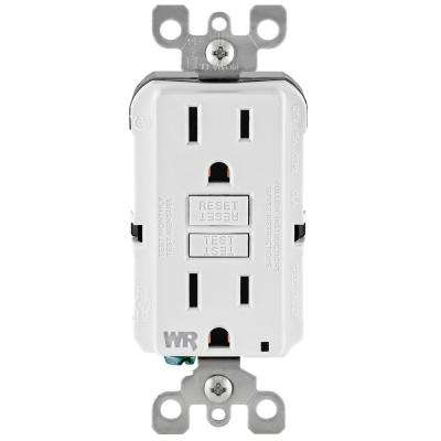 15 Amp 125-Volt Duplex Self-Test Tamper Resistant/Weather Resistant GFCI Outlet, White