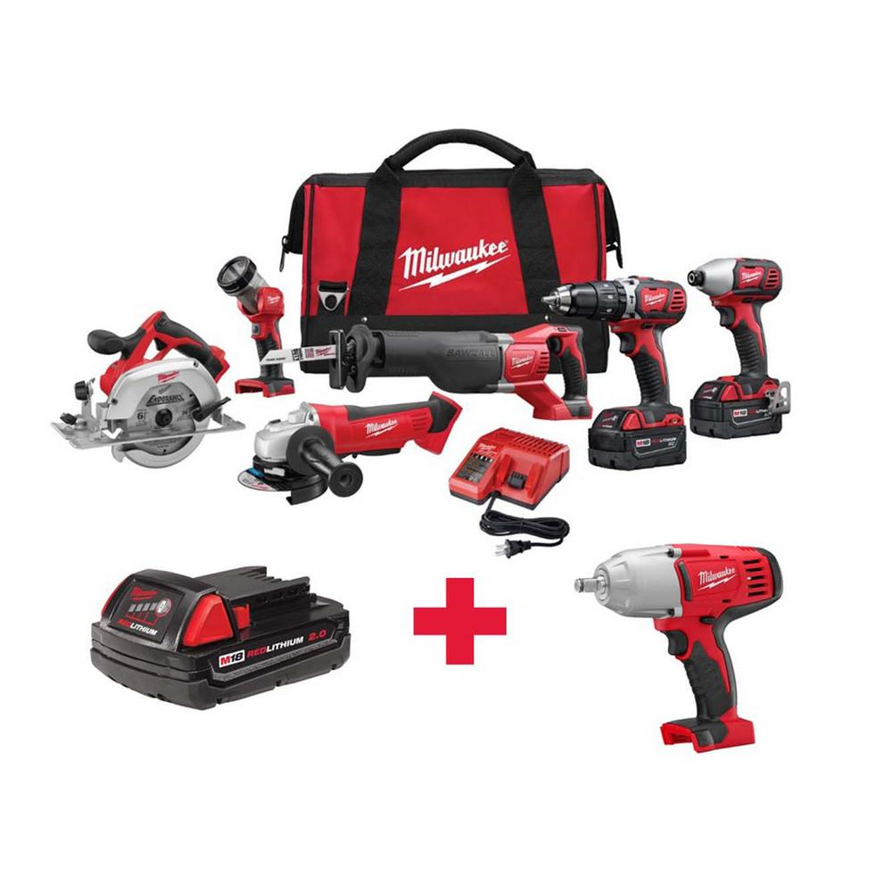 M18 18-Volt Lithium-Ion Cordless Combo Kit (6-Tool) with Free M18 1/2