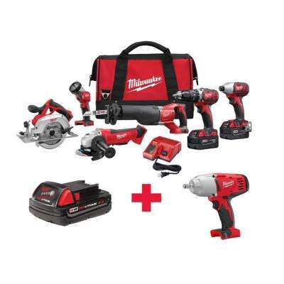 M18 18-Volt Lithium-Ion Cordless Combo Kit (6-Tool) with Free M18 1/2 in. Impact Wrench and M18 2.0AH Battery