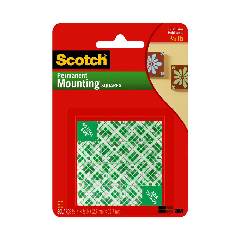 Scotch 0.5 in. x 0.5 in. Permanent Double Sided Indoor Mounting