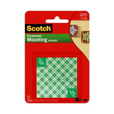 Scotch 0.5 in. x 0.5 in. Permanent Double Sided Indoor Mounting Squares (96-Pack)