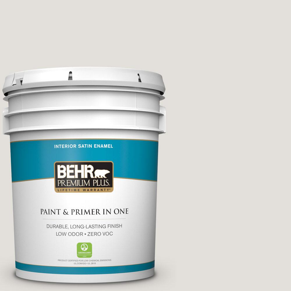 BEHR Premium Plus 5-gal. #PWN-63 Abalone Shell Zero VOC Satin Enamel Interior Paint