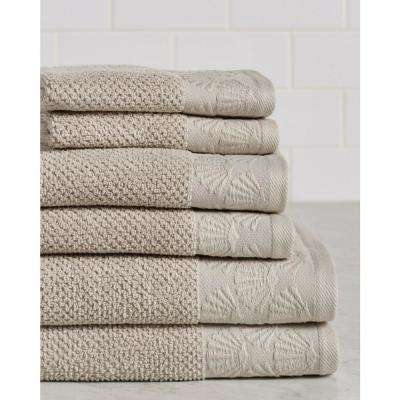 Coastal Shell 6-Piece 100% Cotton Bath Towel Set in Linen