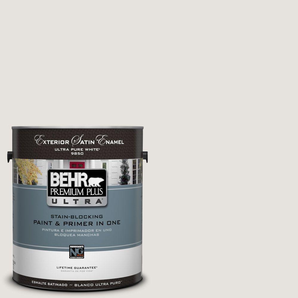 BEHR Premium Plus Ultra 1-Gal. #UL250-13 White Opal Satin Enamel Exterior Paint