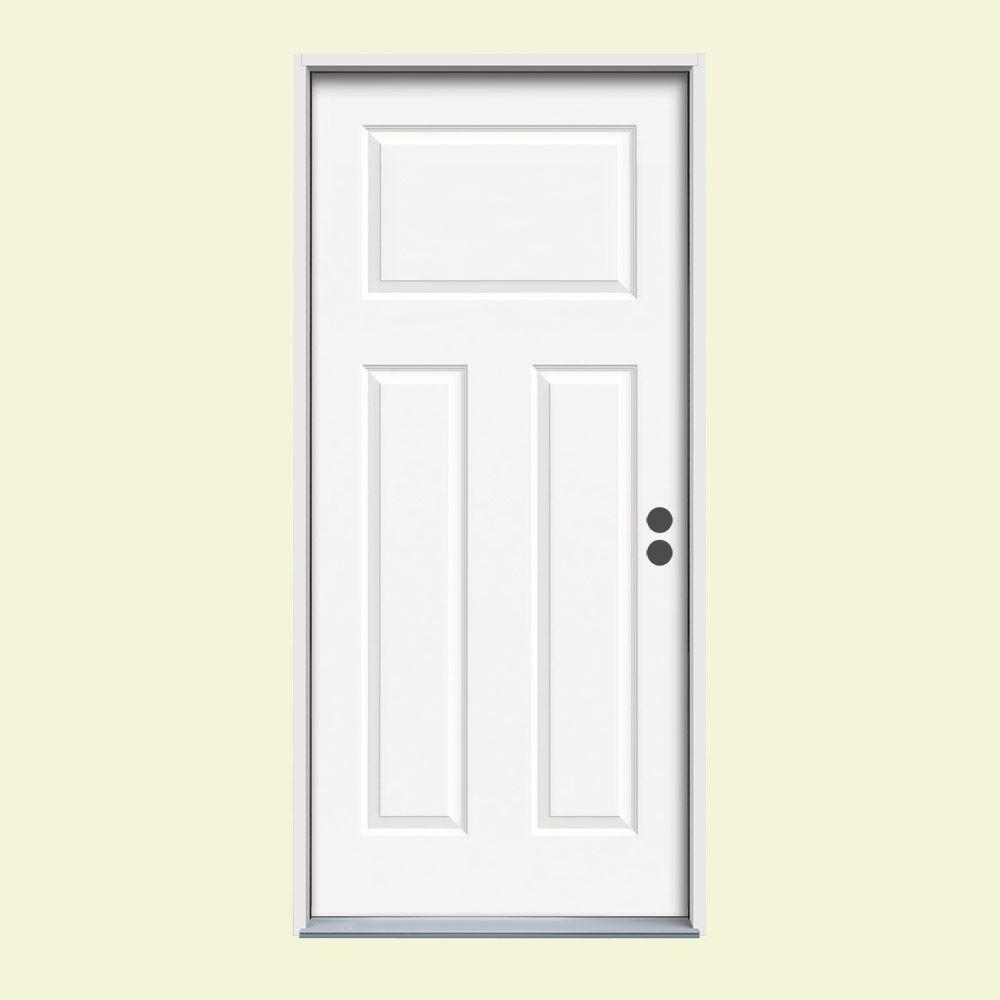 36 in. x 80 in. 3-Panel Craftsman White Painted Steel Prehung Left-Hand Inswing Front Door w/Brickmould