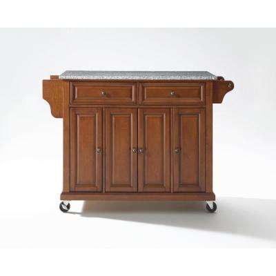 Cherry Kitchen Cart With Granite Top