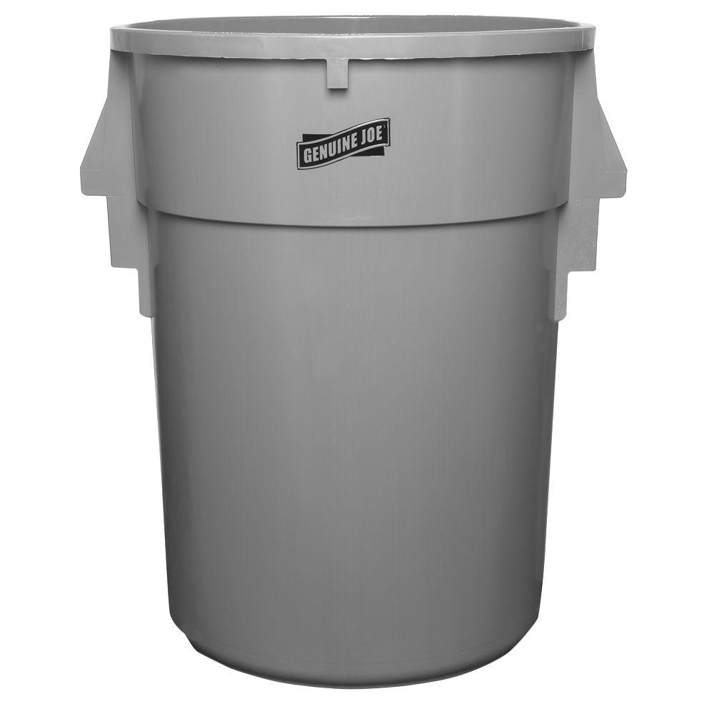 Genuine Joe 44 gal. Gray Round Back-Saving Trash Can