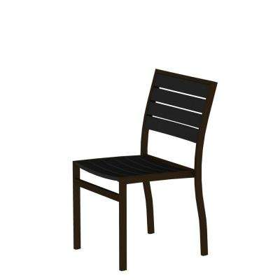 Euro Textured Bronze Patio Dining Side Chair With Black Slats