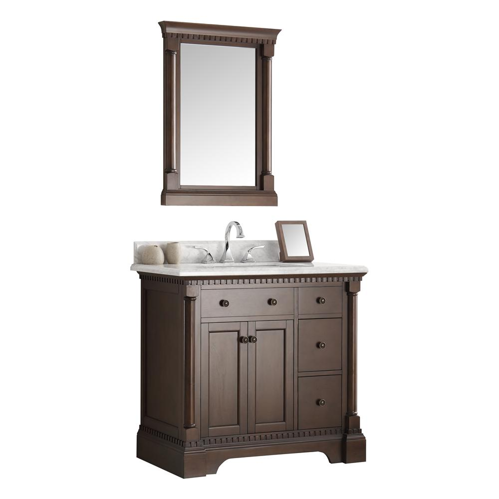 Kingston 36 in. Vanity in Antique Coffee with Marble Vanity Top