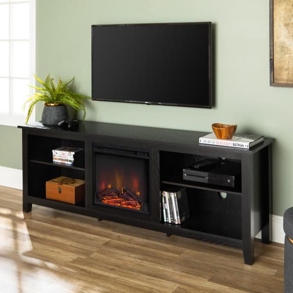 Walker Edison Furniture Company Essentials Black Fire Place Entertainment Center