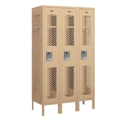 71000 Series 3 Compartments Single Tier 36 In. W x 66 In. H x 15 In. D Vented Metal Locker Assembled in Tan