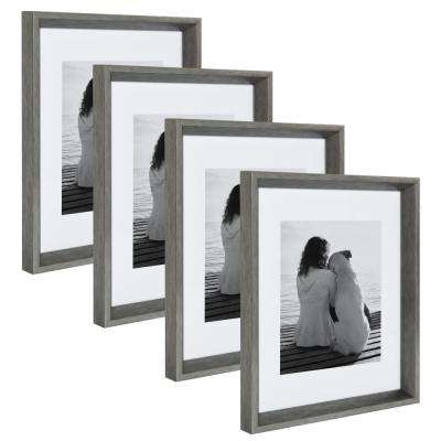 Calter 11 in. x 14 in. Matted to 8 in. x 10 in. Silver Picture Frame (Set of 4)