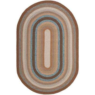 Braided Brown/Multi 6 ft. x 9 ft. Oval Area Rug