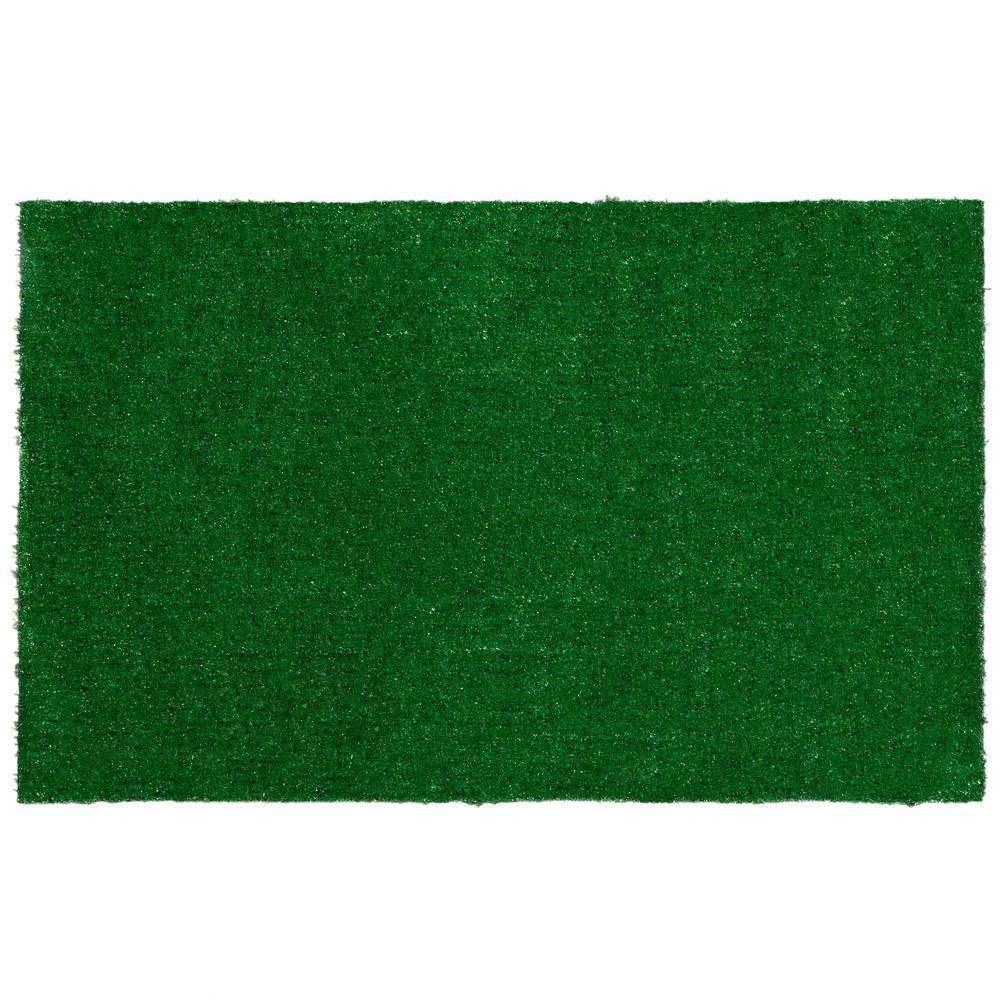 Garden Grass Collection 2 ft. x 3 ft. Green Artificial Grass Doormat