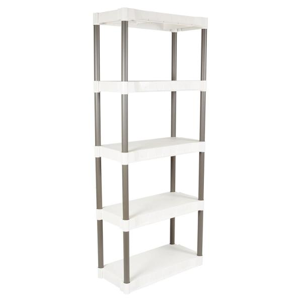 Light Taupe 5-Tier Plastic Shelving Unit (29 in. W x 75 in. H x 13 in. D)