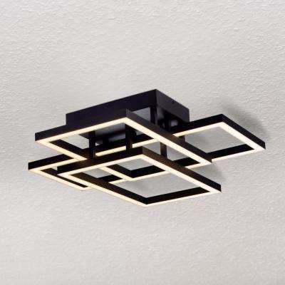 Radium 75-Watt Black Integrated LED Semi-Flush Mount