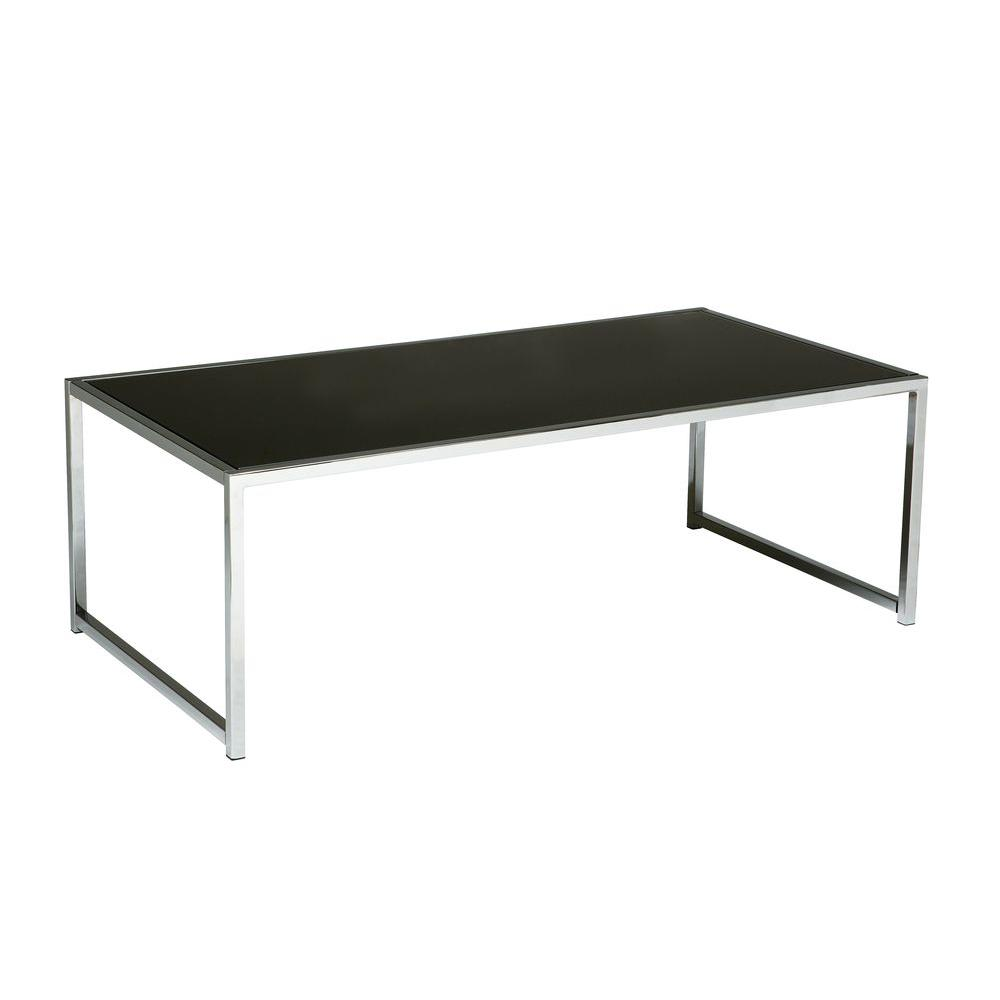 Ave six yield chrome and black glass coffee table yld12 the home depot Black and chrome coffee table