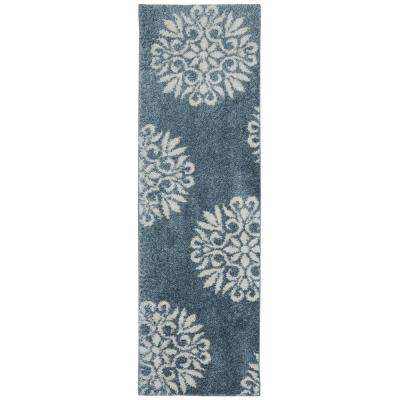 Exploded Medallions Blue Woven 2 ft. x 7 ft. 10 in. Rug Runner