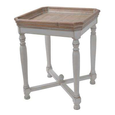 Alcott Aged White Square Side Table