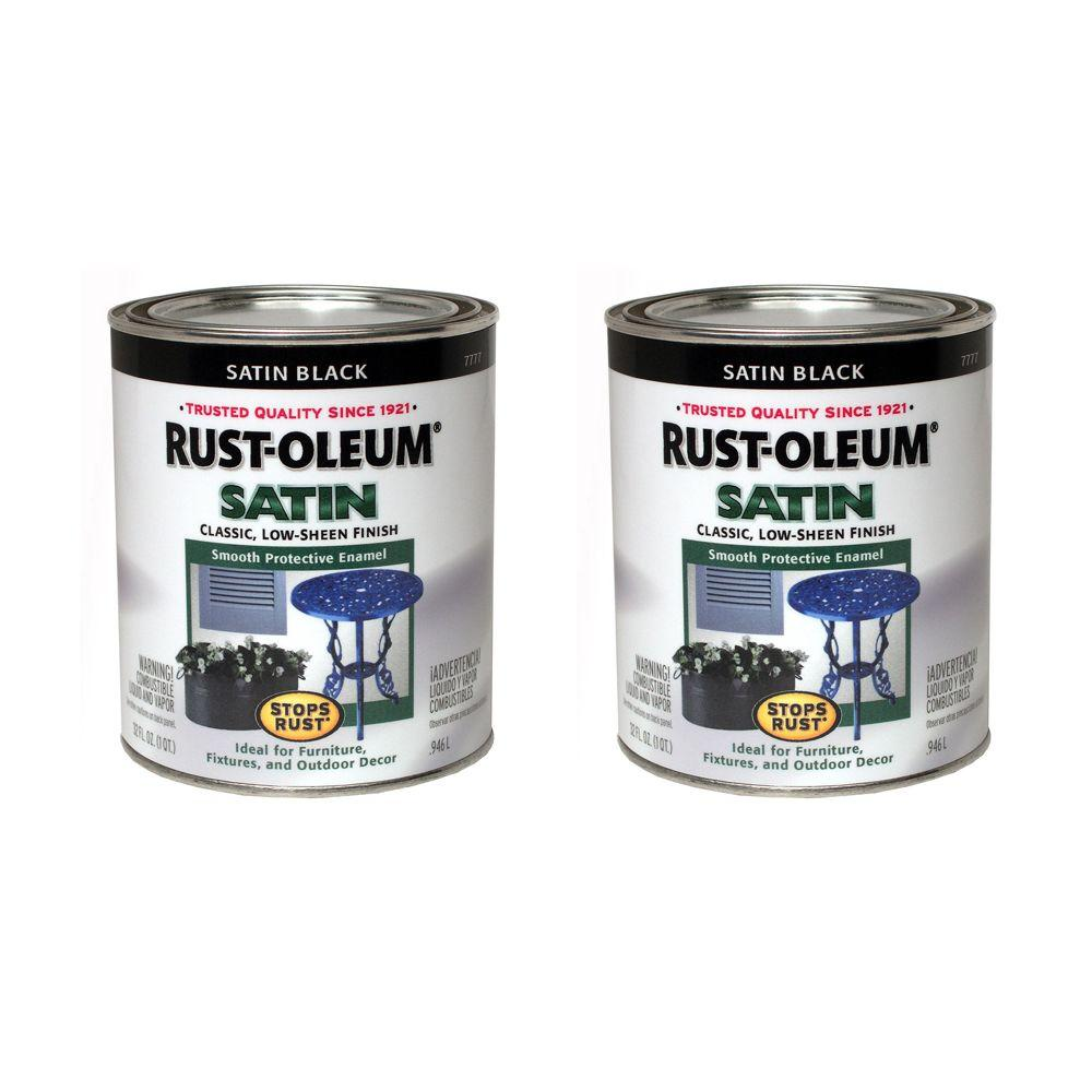 Rust-Oleum Stops Rust 32 oz. Satin Black Protective Enamel (2-Pack)-DISCONTINUED