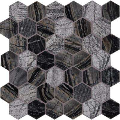 Henley Hexagon 12 in. x 12 in. x 10 mm Natural Marble Mesh-Mounted Mosaic Tile (10 sq. ft. / case)