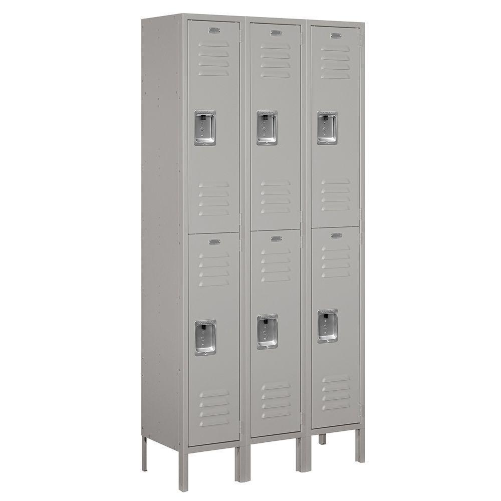 62000 Series 36 in. W x 78 in. H x 12 in. D 2-Tier Metal Locker Assembled in Gray