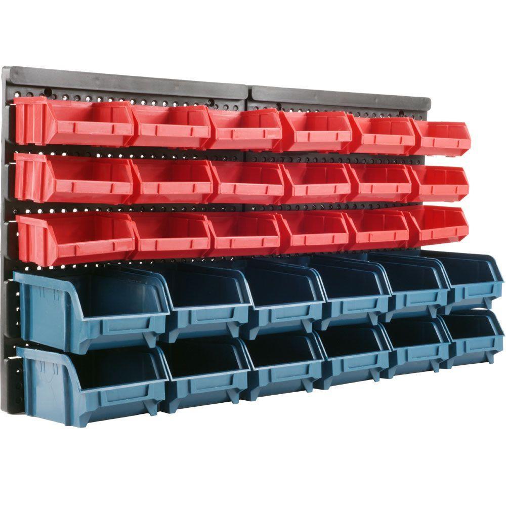 Stalwart 30 Bin Wall Mounted Parts Rack