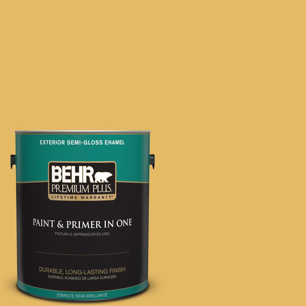 1 gal. #MQ4-12 Dandelion Wish Semi-Gloss Enamel Exterior Paint and Primer