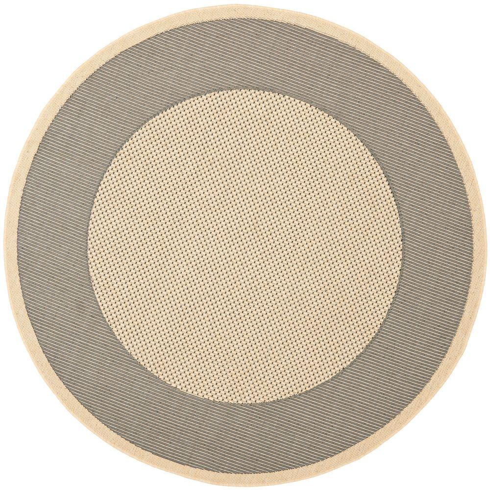 Safavieh Courtyard Gray/Cream 6 ft. 7 in. x 6 ft. 7 in. Indoor/Outdoor Round Area Rug