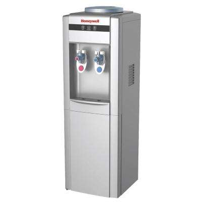 Freestanding Top-Loading Hot/Cold Water Dispenser with Cabinet and Thermostat Control in Silver
