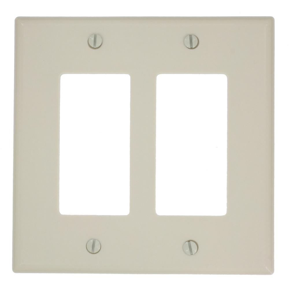 Leviton 2 Gang Decora Rocker Switch Wall Plate Light Almond