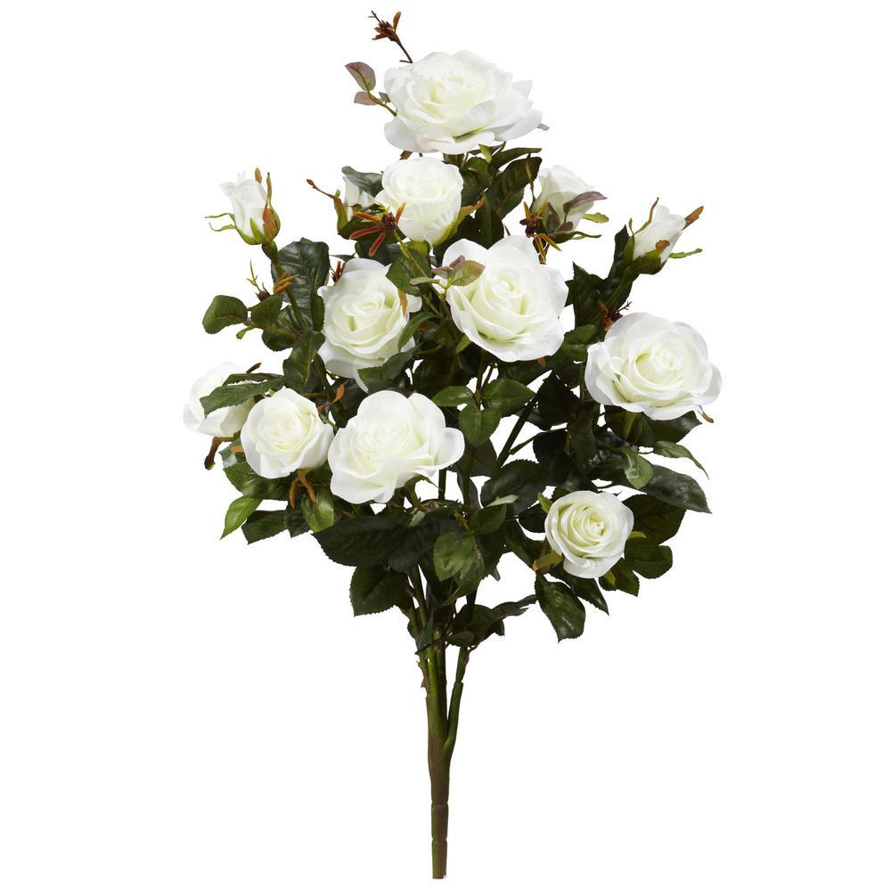 Indoor 28 in. Garden Rose Artificial Plant (Set of 2)