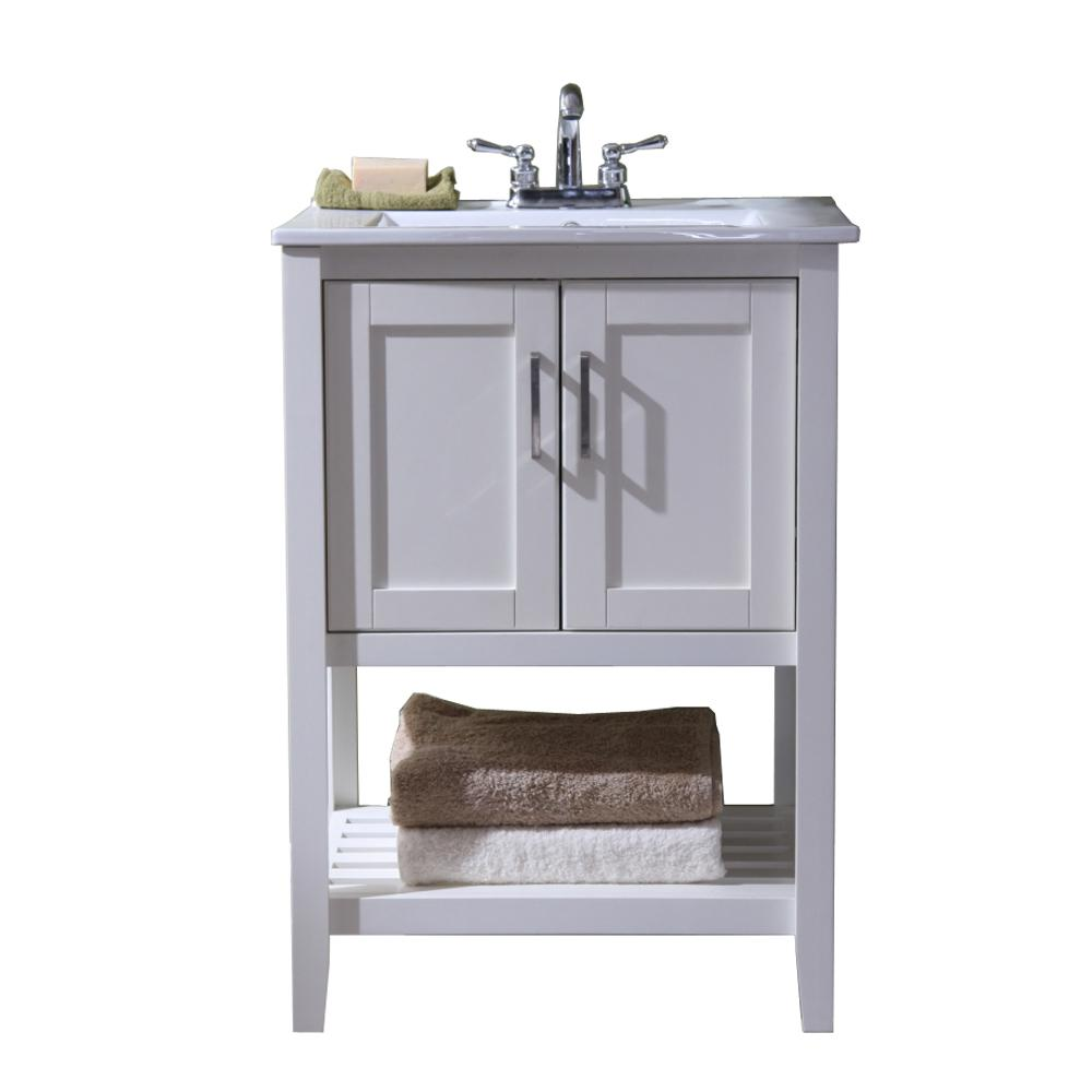 24 in. Vanity with Single Sink Top in White with White