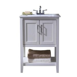 24 inch Vanity with Single Sink Top in White with White Ceramic Basin by
