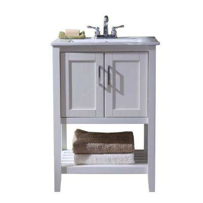 24 in. Vanity with Single Sink Top in White with White Ceramic Basin