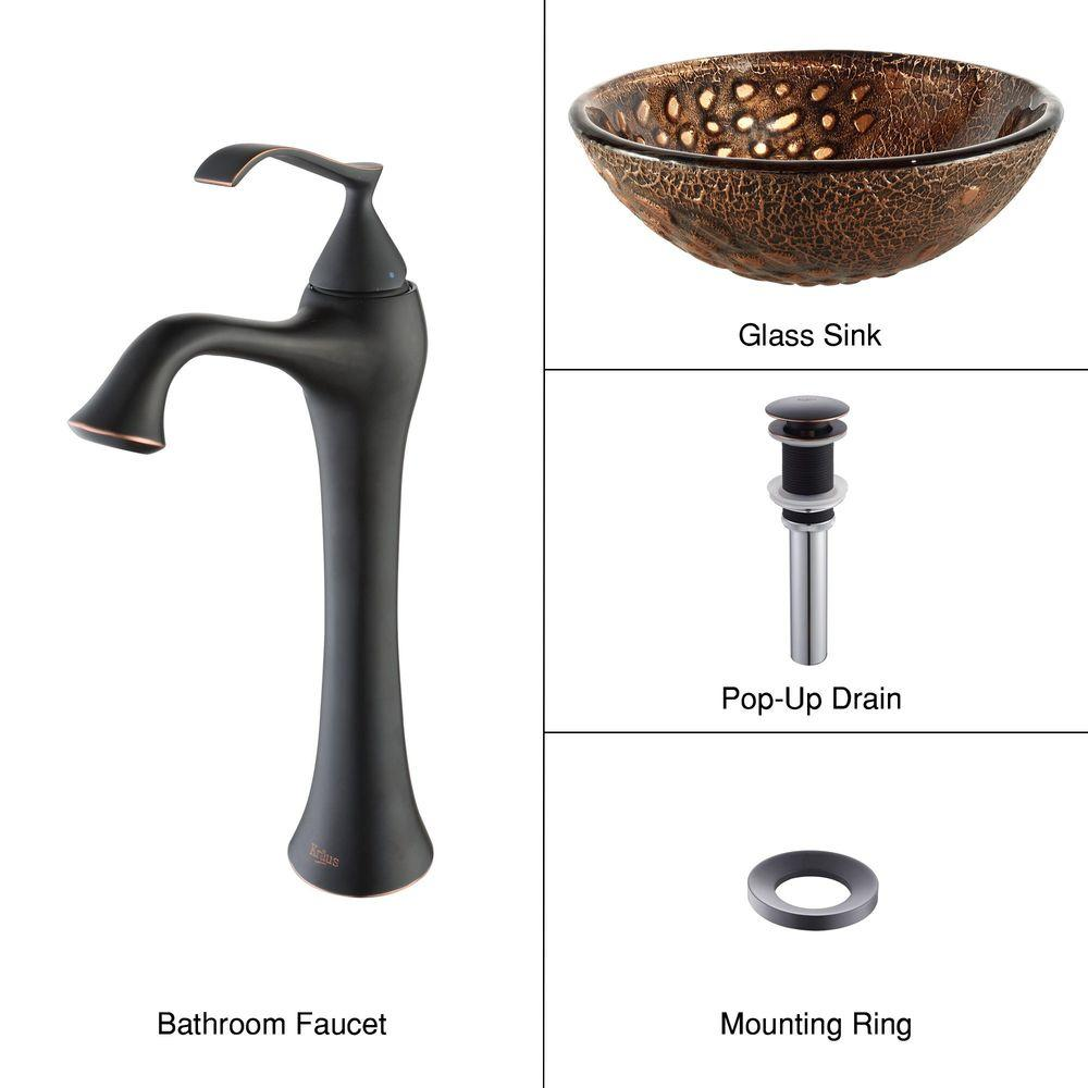 KRAUS Vessel Sink in Rhea with Ventus Faucet in Oil Rubbed Bronze-DISCONTINUED
