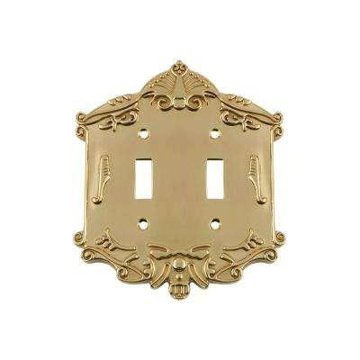 Victorian Switch Plate with Double Toggle in Polished Brass