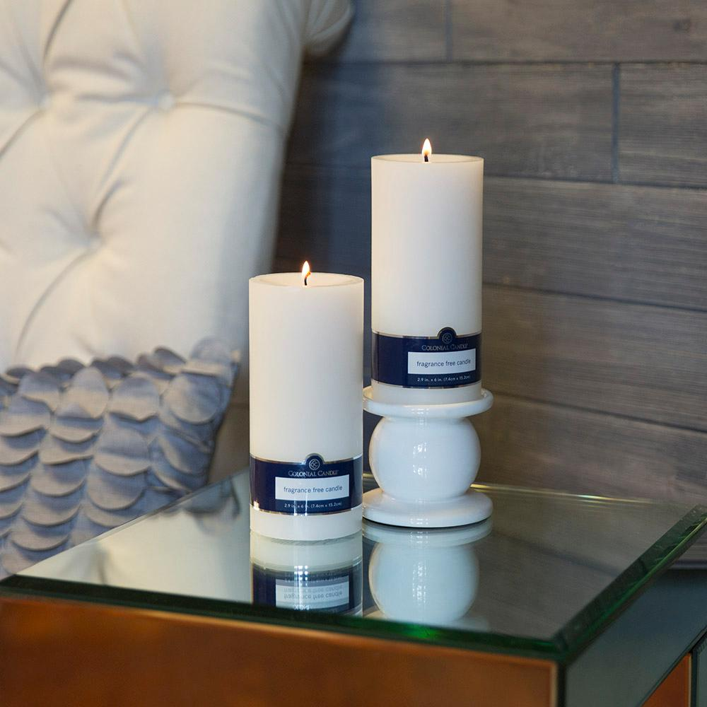 White 3 in. x 6 in. Unscented Pillar Candles (Set of