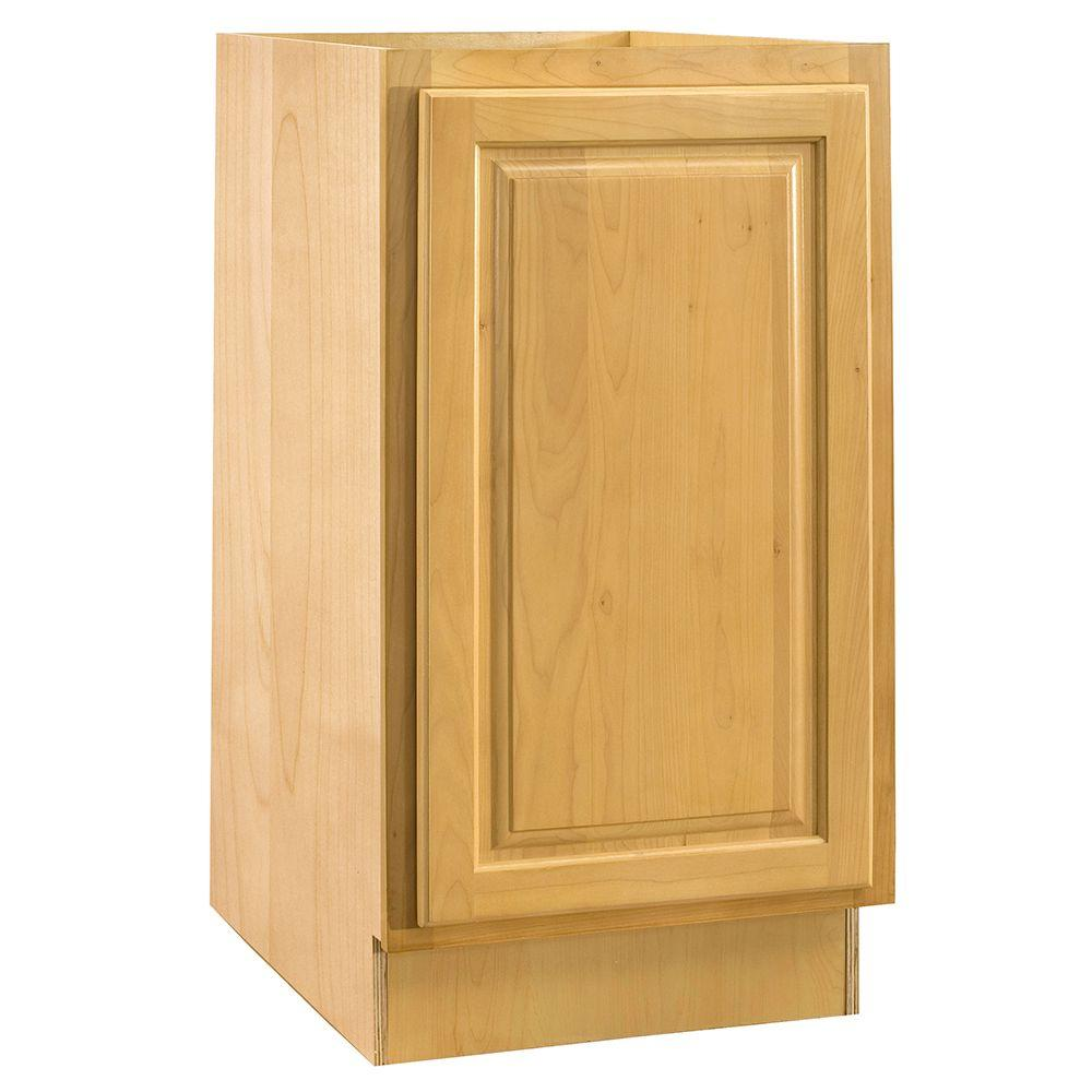 Home Decorators Collection Assembled 15x34.5x24 in. Base Cabinet with Single Pullout Wastebasket in Vista Honey Spice