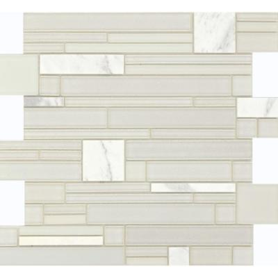 Entity Gusto Glossy 11.81 in. x 11.81 in. x 8mm Glass Mesh-Mounted Mosaic Tile (0.97 sq. ft.)