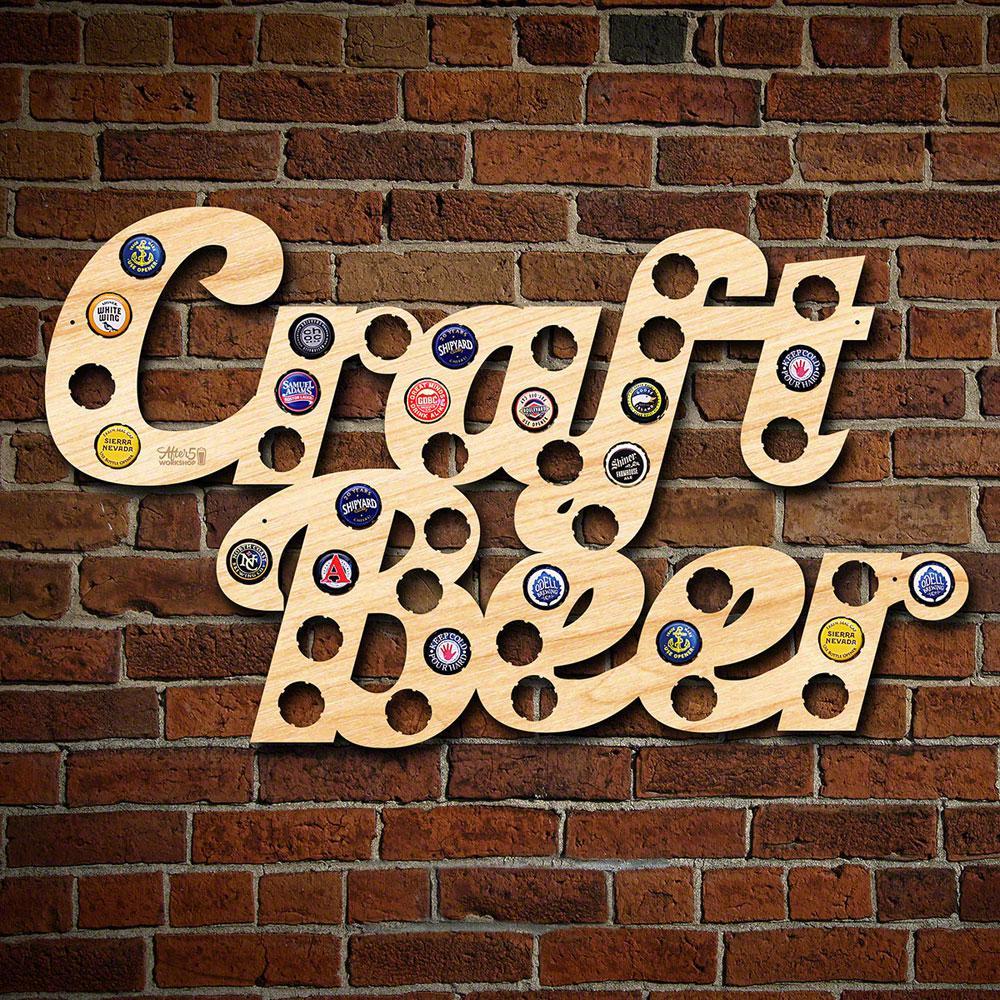 """""""Craft Beer"""" Phrase Beer Cap Map"""