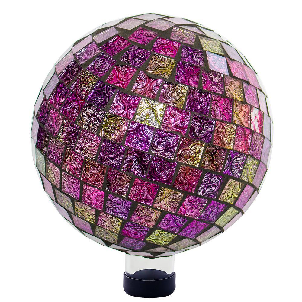 11 in. T Alpine Violet Mosaic Gazing Globe