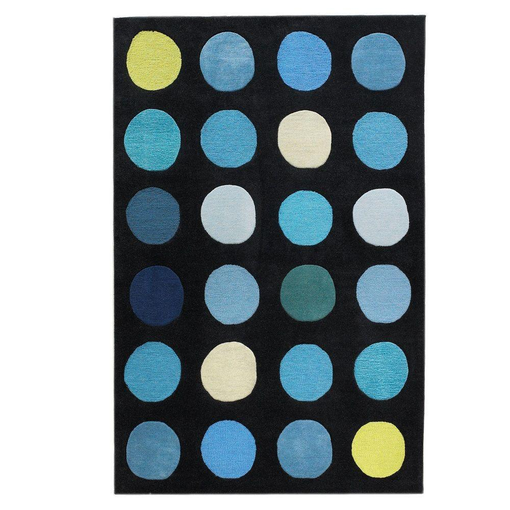 Linon Home Decor Trio Collection Black and Blue 5 ft. x 7 ft. Indoor Area Rug