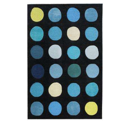 trio collection black and blue 5 ft x 7 ft indoor area rug