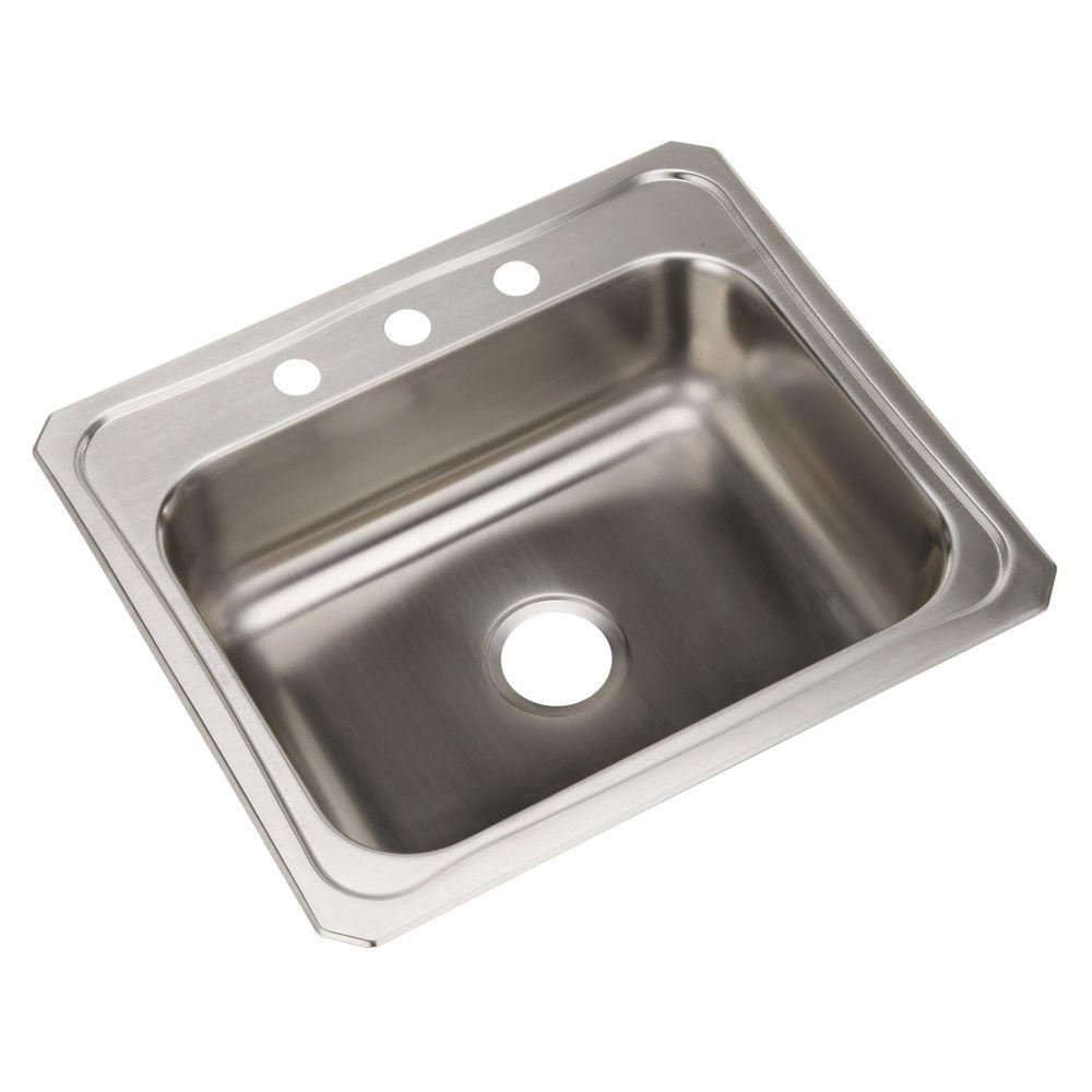 Elkay Celebrity Drop In Stainless Steel 25 In 3 Hole Single Bowl Kitchen Sink With 7 In Bowl
