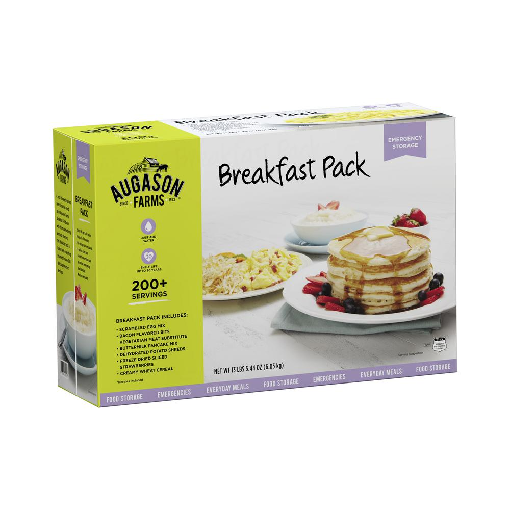 AUGASON FARMS Breakfast Variety Pack Emergency Food Supply 6 Large Cans 30 Year Shelf Life