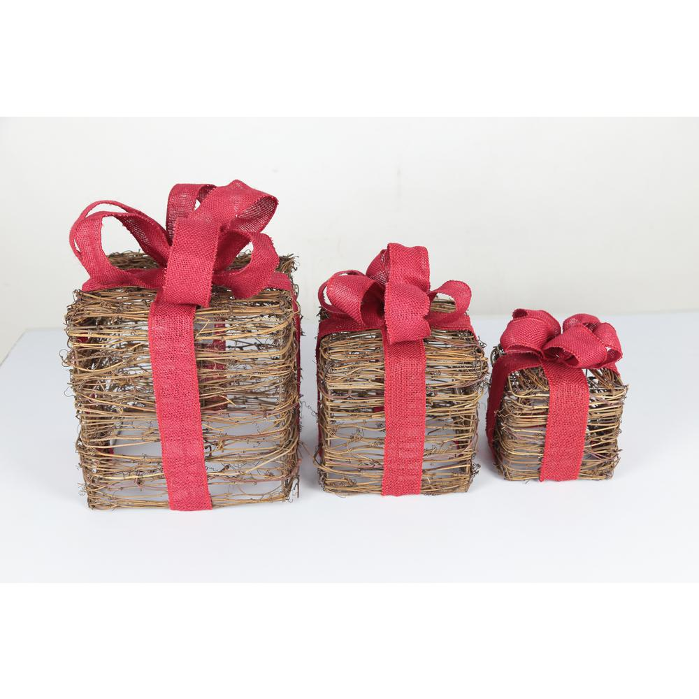Home Accents Holiday 10 in. Lit Vine Gift Boxes (3-Piece)