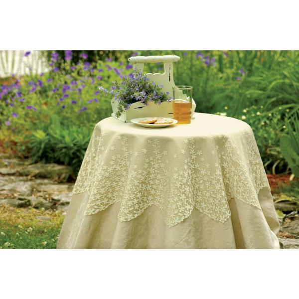 Heritage Lace Blossom 42 In W X 42 In L Ecru Floral Polyester Round Table Topper Bl 4200e The Home Depot