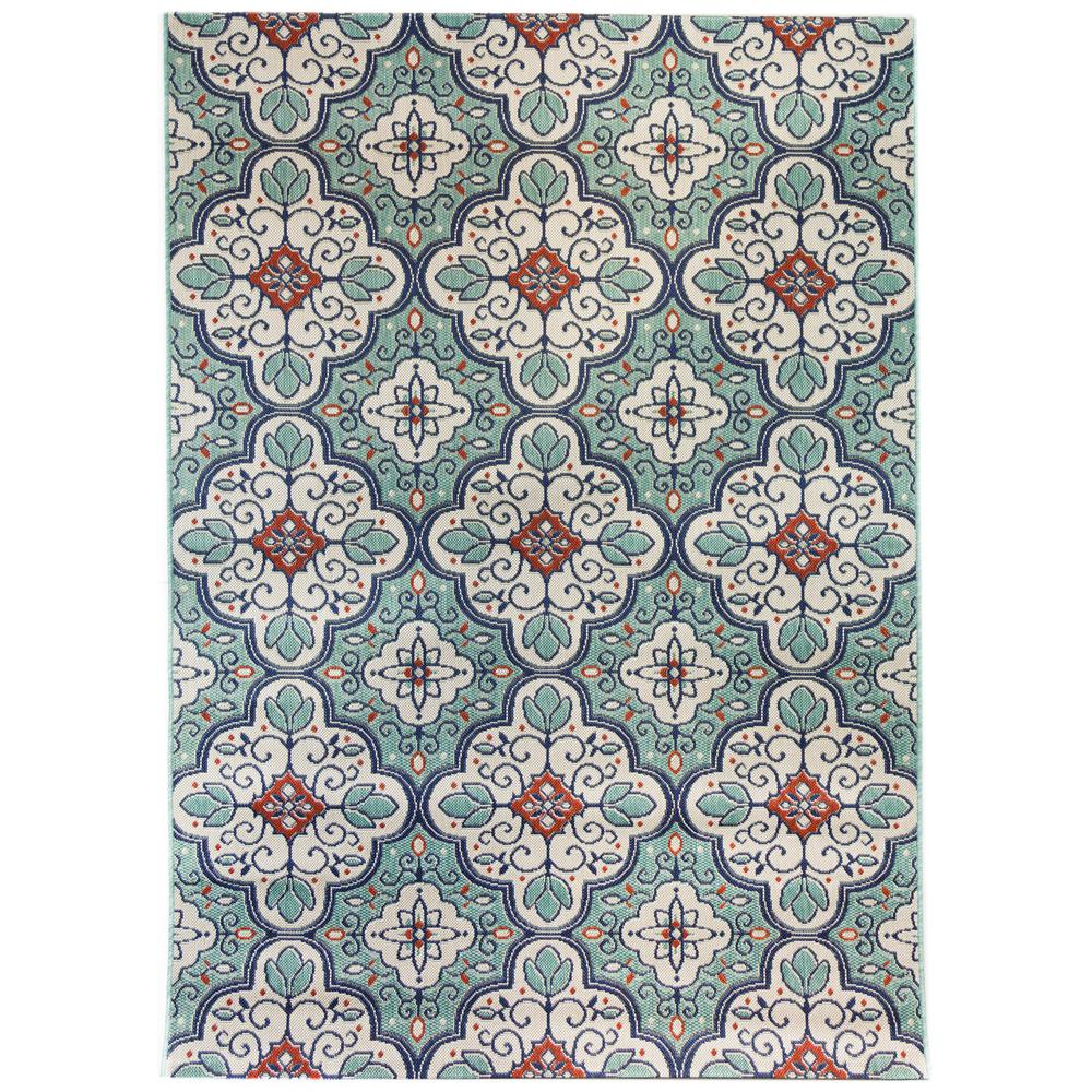 Hampton Bay Star Moroccan Cool Blue 5 Ft. 3 In X 7 Ft